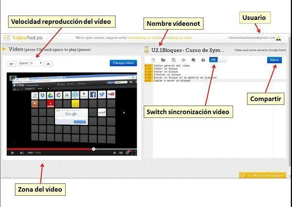 Interfaz de Videonot (rosapanos.com - Pildoras de TIC)