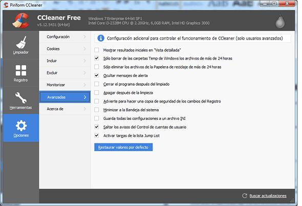 CCleaner- opciones avanzadas en rosapanos.com - Pildoras de TIC
