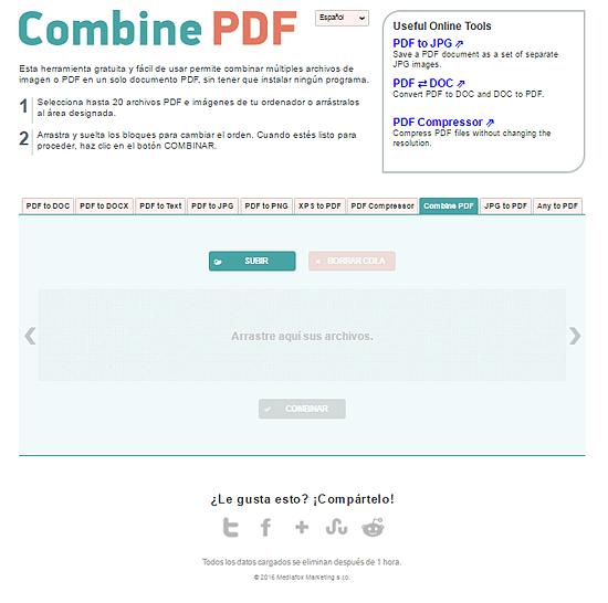 Interfaz Combinar PDF en rosapanos.com - Pildoras de TIC