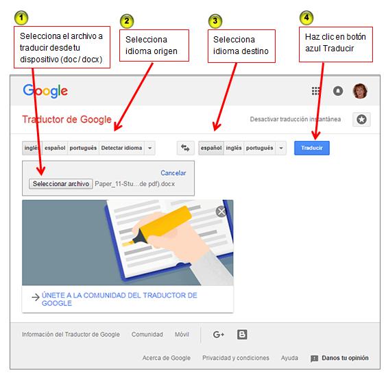 Interfaz de Traductor de Google en rosapanos.com - Pildoras de TIC (563)