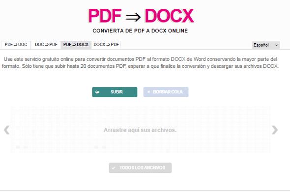interfaz nueva PDF a DOCX en rosapano.com - Pildoras de TIC