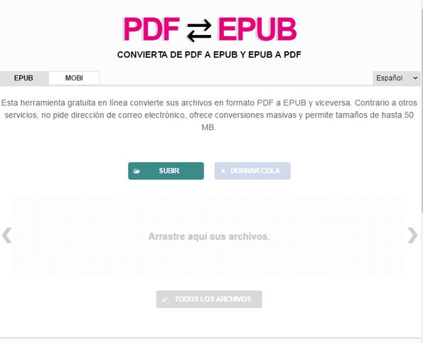 interfaz pdfepub en rosapanos.com - Pildoras de TIC