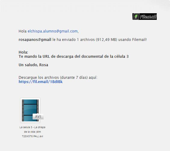 email recepcion al el chispa sobre celula 3 con Filemail by rosapanos.com - Pildoras de TIC