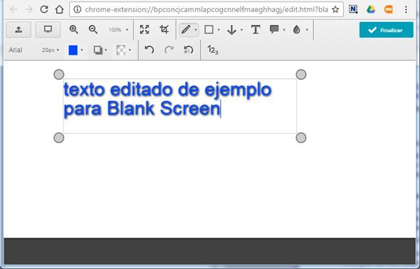 Blank Screen de Nimbus texto ejemplo (rosapanos.com - Pildoras de TIC)