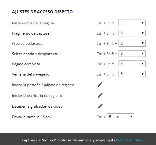 ajustes atajos de teclado nimbus 2019